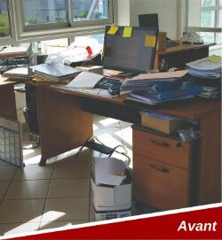 Exemple des bureaux avant et après la méthode 5s